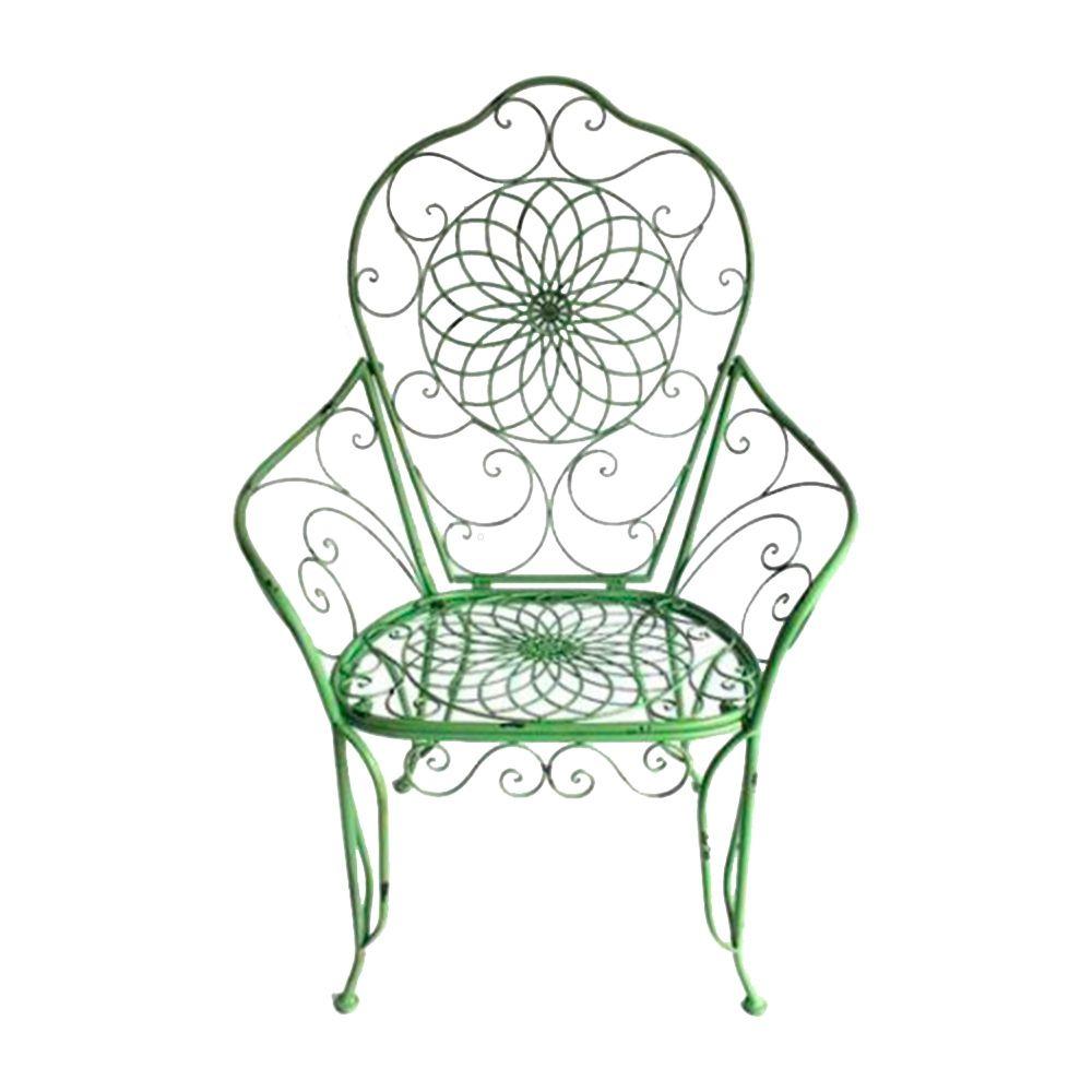 Cadeira Real Detalhada em Arabescos e Flores Verde com Estrutura Vazada em Ferro - 115x81 cm
