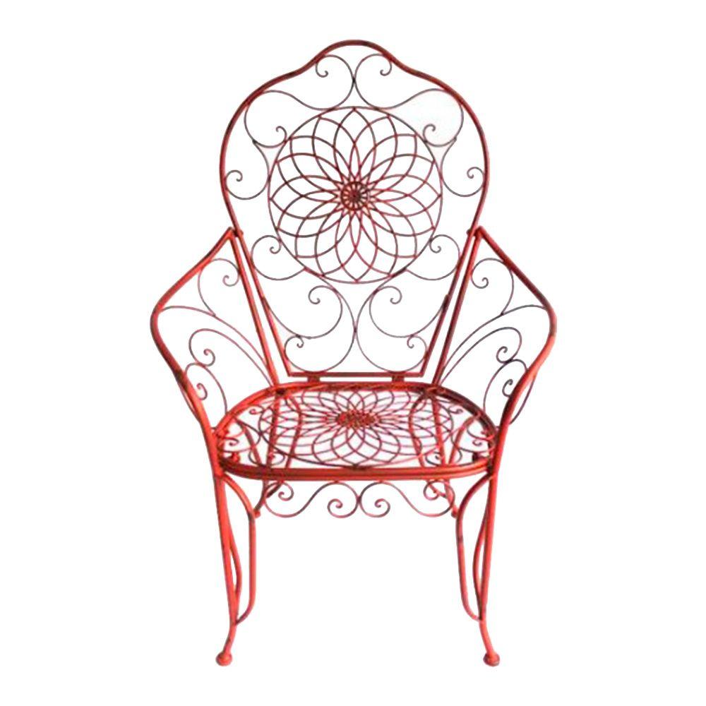 Cadeira Real Detalhada em Arabescos e Flores Vermelha c/ Estrutura Vazada em Ferro - 115x81 cm