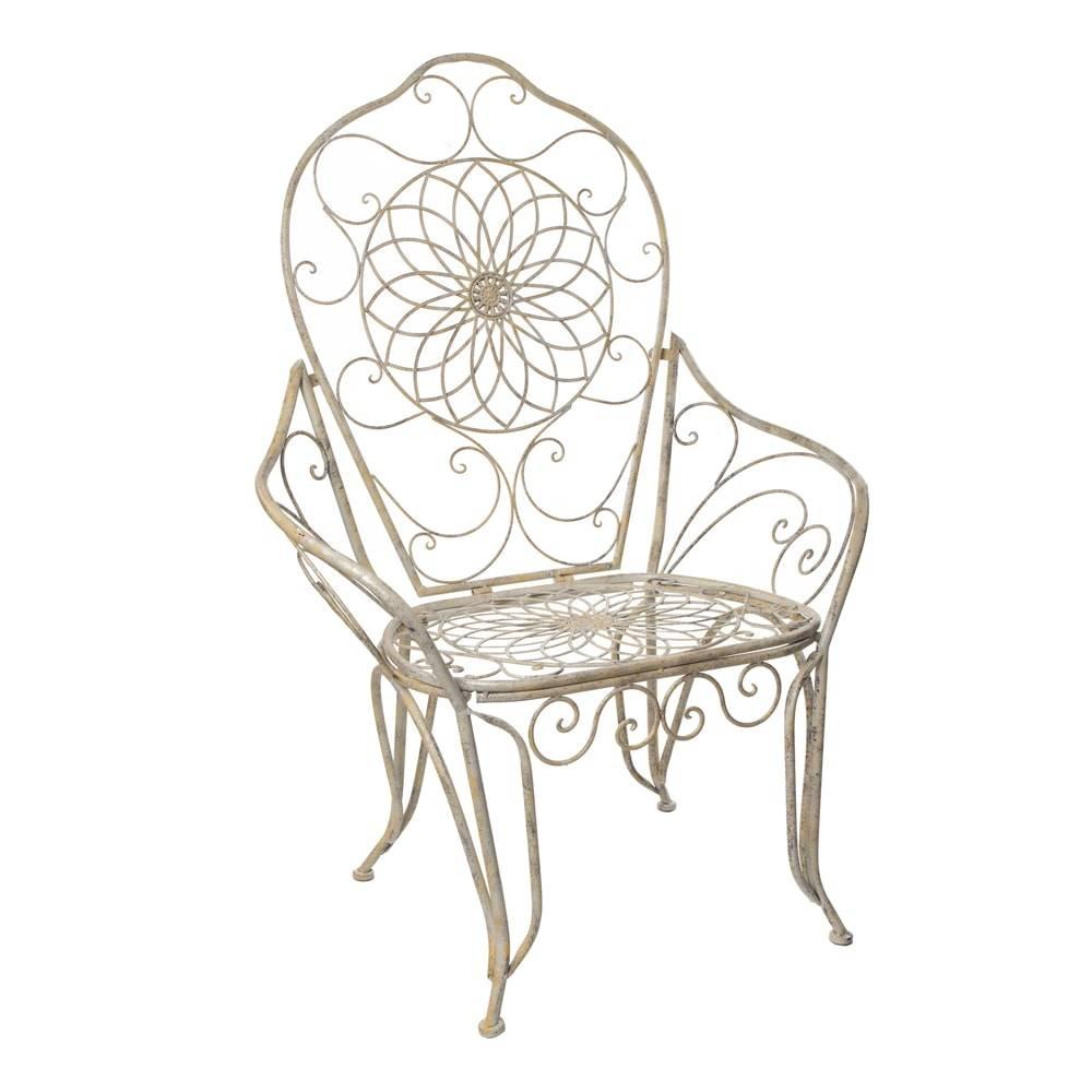 Cadeira Real Detalhada com Arabescos e Flores Branca Vazada em Ferro - 115x81 cm