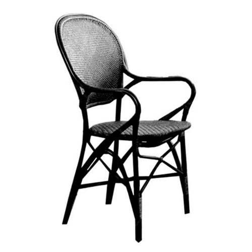 Cadeira Rossini Black em Rattan Natural - 93x55 cm