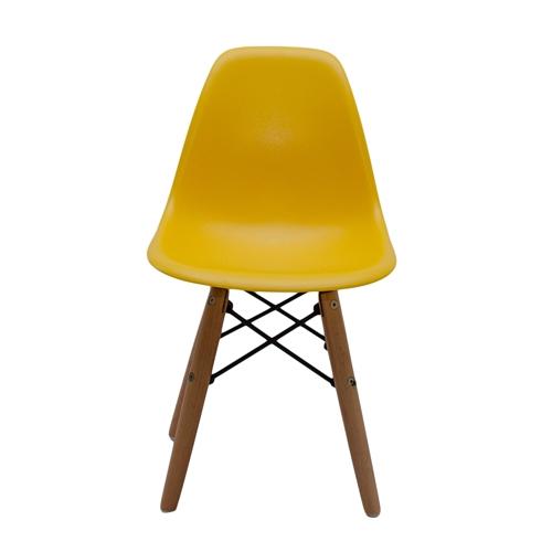 Cadeira Side Kids Amarela em ABS e Base em Madeira - 56x31 cm
