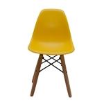 Cadeira Side Kids Amarela em ABS e Base em Madeira