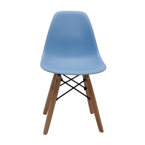 Cadeira Side Kids Azul em ABS e Base em Madeira - 56x31 cm