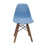 Cadeira Side Kids Azul em ABS e Base em Madeira