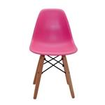 Cadeira Side Kids Pink em ABS e Base em Madeira