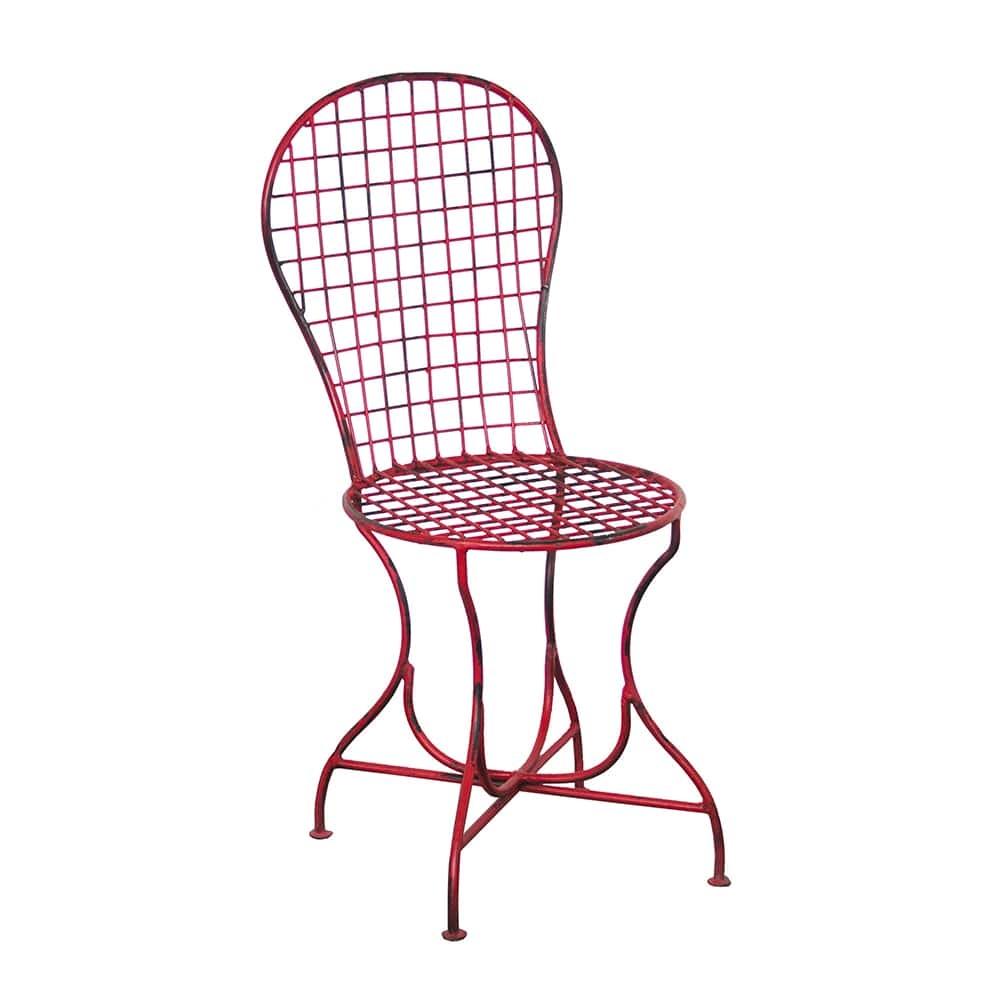 Cadeira Simian Vermelha Quadriculada Vazada em Ferro - 92x48 cm