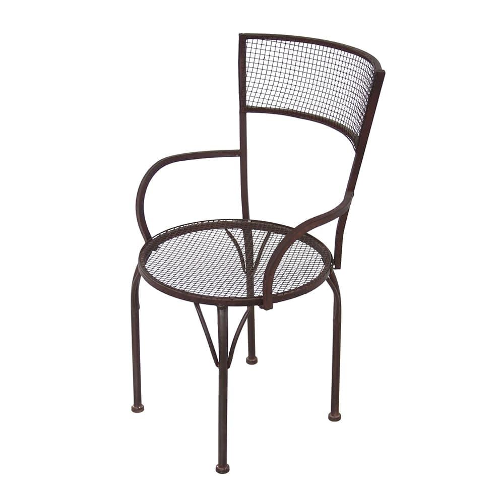 Cadeira Simons Marrom com Apoio para Braço em Ferro - 90x55 cm