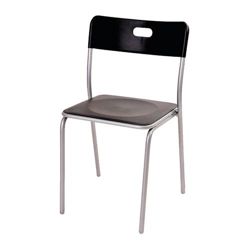 Cadeira Star Preta em Polipropileno e Base em Aço - 78x39 cm