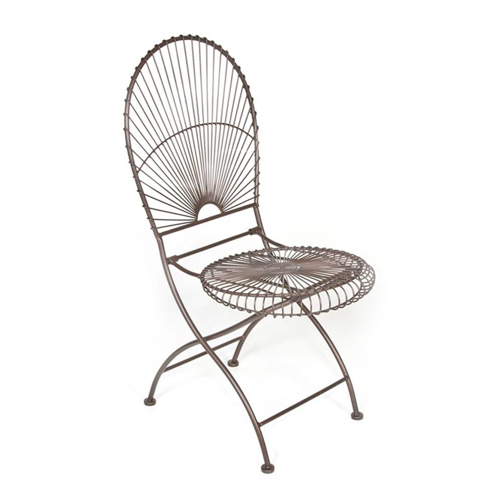 Cadeira Sunrise Marrom Vazada em Ferro - 44x44 cm