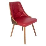 Cadeira Vergada Retrô Vermelho Pés de Madeira Fullway