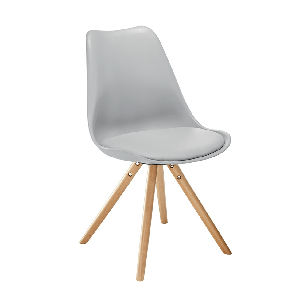 Cadeira Vivence Pé Palito Cinza com Assento Estofado - 80x52 cm