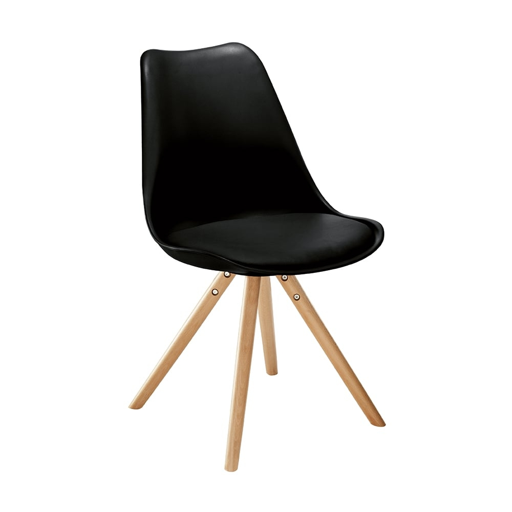 Cadeira Vivence Pé Palito Preta com Assento Estofado - 80x52 cm