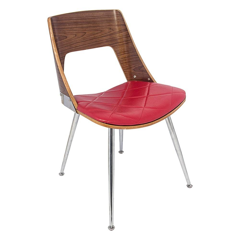 Cadeira Walnut Vergada Vermelha - Pés de Metal Fullway - 79x46 cm