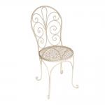 Cadeira Zaira com Assento Floral Branco em Ferro - 91x45 cm
