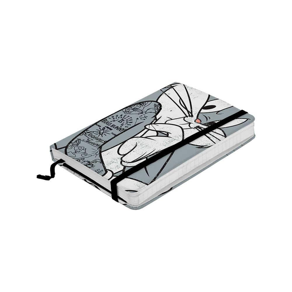 Caderneta de Anotação Looney Tunes Bugs Bunny Concerned Fundo Cinza 100 Folhas - 21x14,8 cm