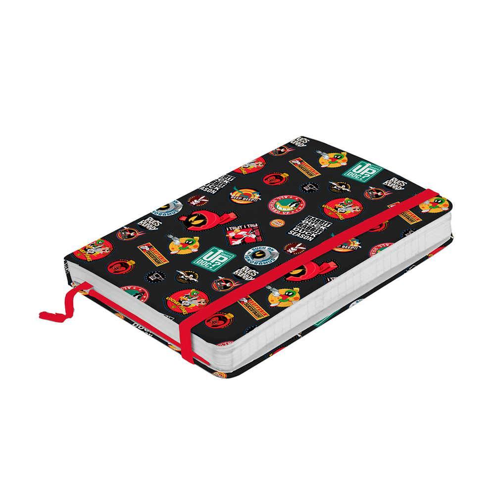 Caderneta de Anotação Looney Tunes Buttons Fundo Preto 100 Folhas - 14x9,5 cm