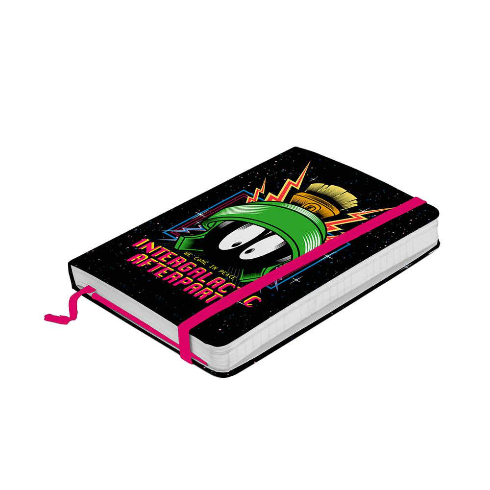 Caderneta de Anotação Looney Tunes Marvin The Intergalatic Fundo Preto 100 Folhas - 14x9,5 cm