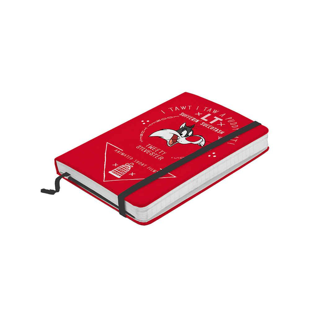 Caderneta de Anotações Looney Tunes Sylvester Fundo Vermelho 100 Folhas - Urban -14x9,5 cm