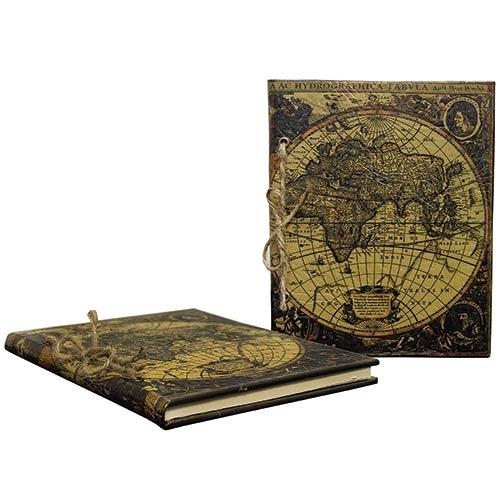 Caderno de Anotação Mapa Mundi Retrô Oldway - 23x18 cm