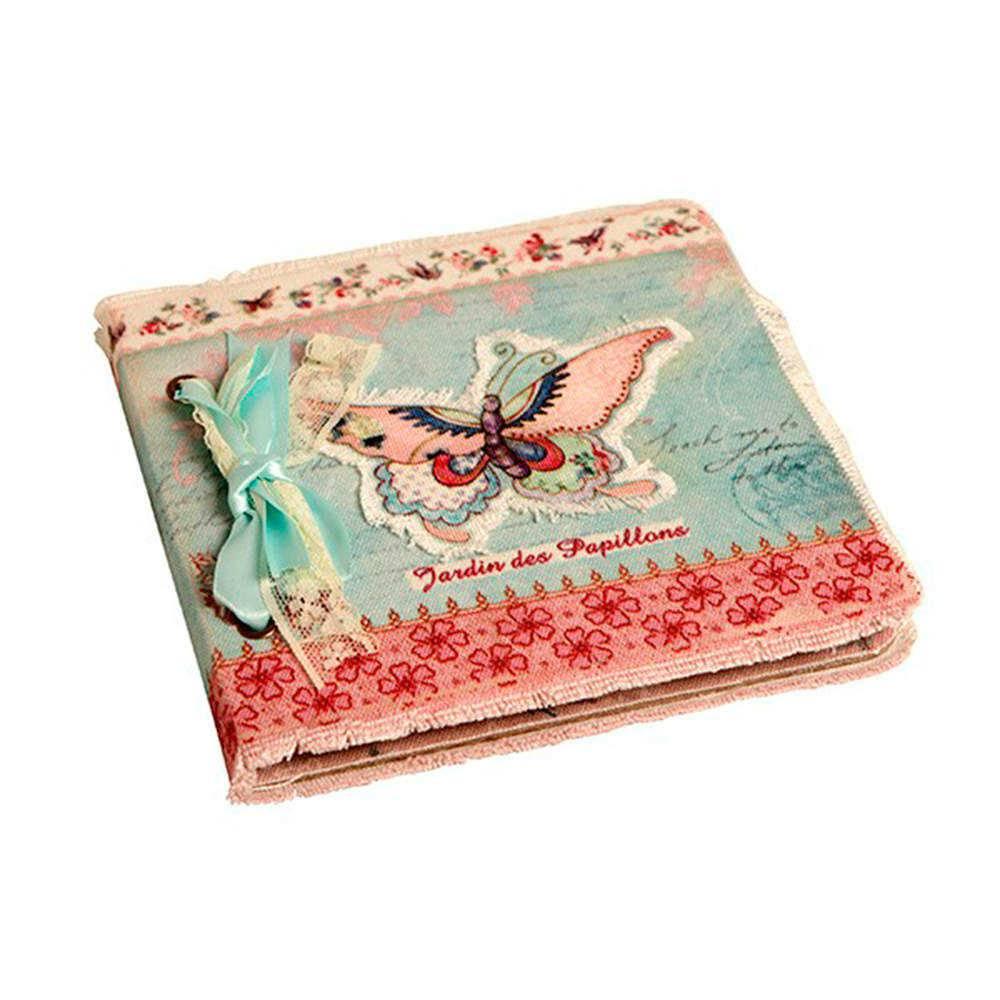 Caderno de Anotações Borboleta Azul e Rosa com Capa em Tecido - 17x17 cm