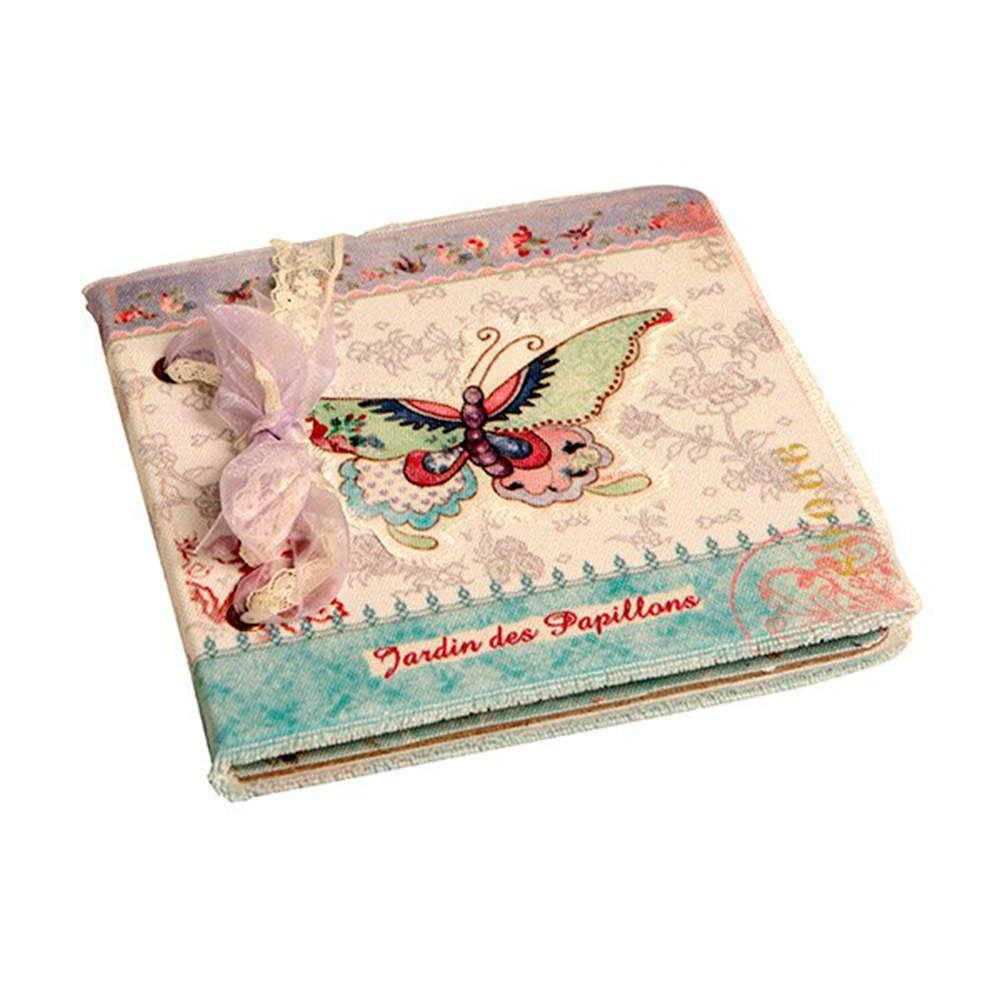 Caderno de Anotações Borboleta Colorida com Capa em Tecido - 17x17 cm