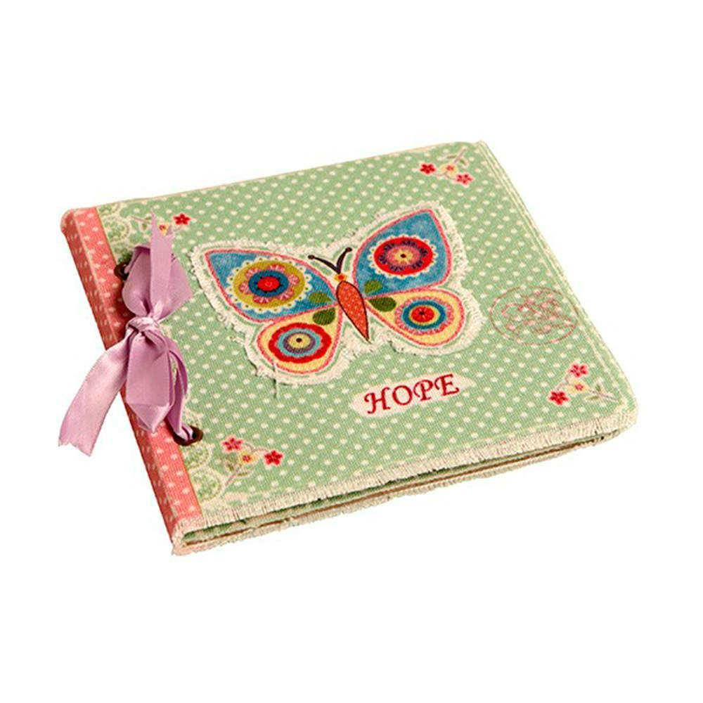Caderno de Anotações Borboleta/Poás Verdes com Capa em Tecido - 17x17 cm
