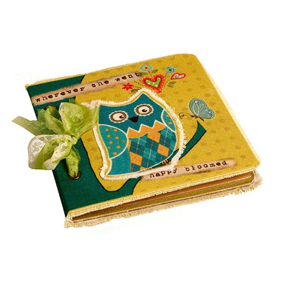 Caderno de Anotações Corujinha com Fundo Amarelo - Capa em Tecido - 17x17 cm