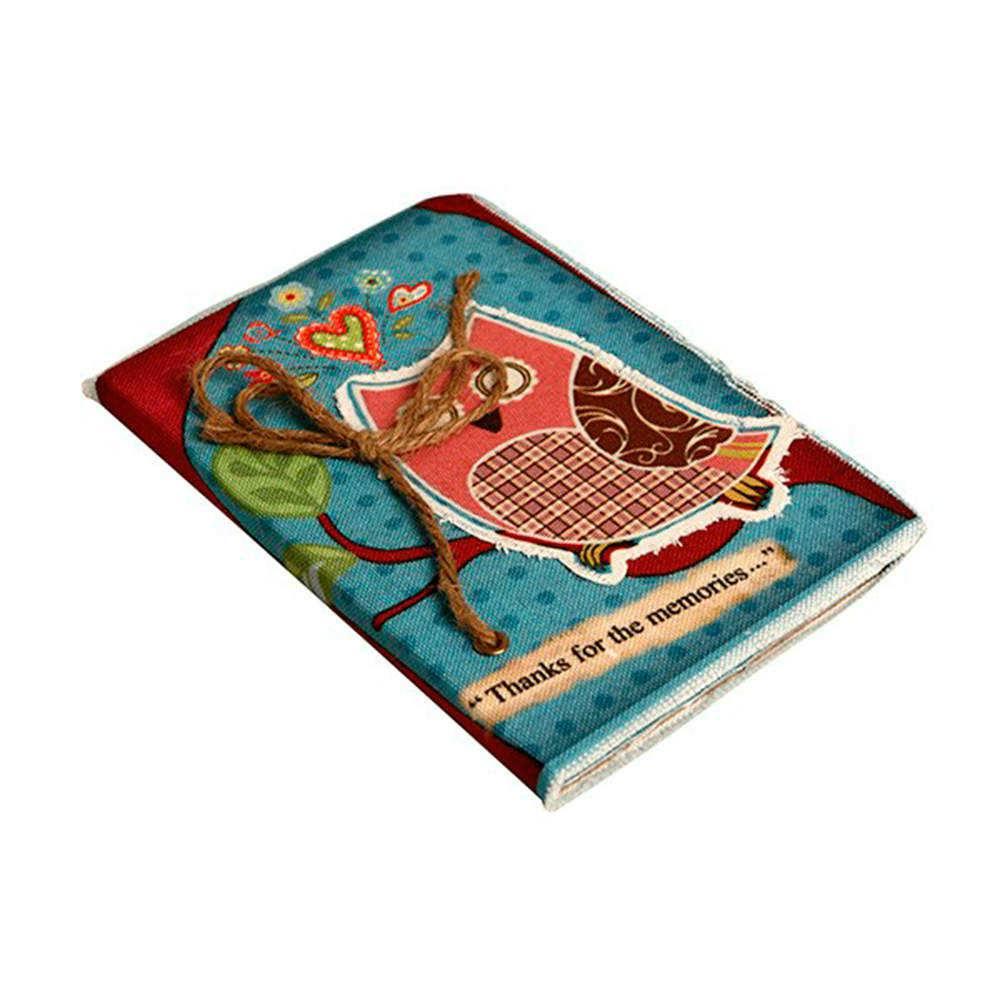 Caderno de Anotações Corujinha Rosa em Fundo Azul com Capa em Tecido - 22x15 cm