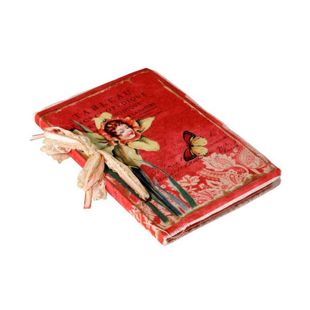 Caderno de Anotações Encyclopedique Vermelho com Capa em Tecido - 22x15 cm