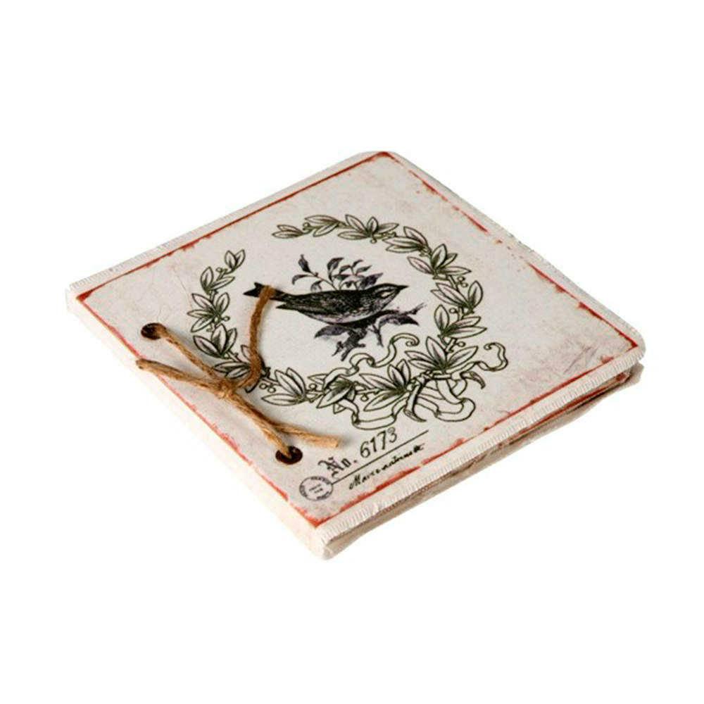 Caderno de Anotações Estampa Pássaro com Fundo Branco - 17x17 cm