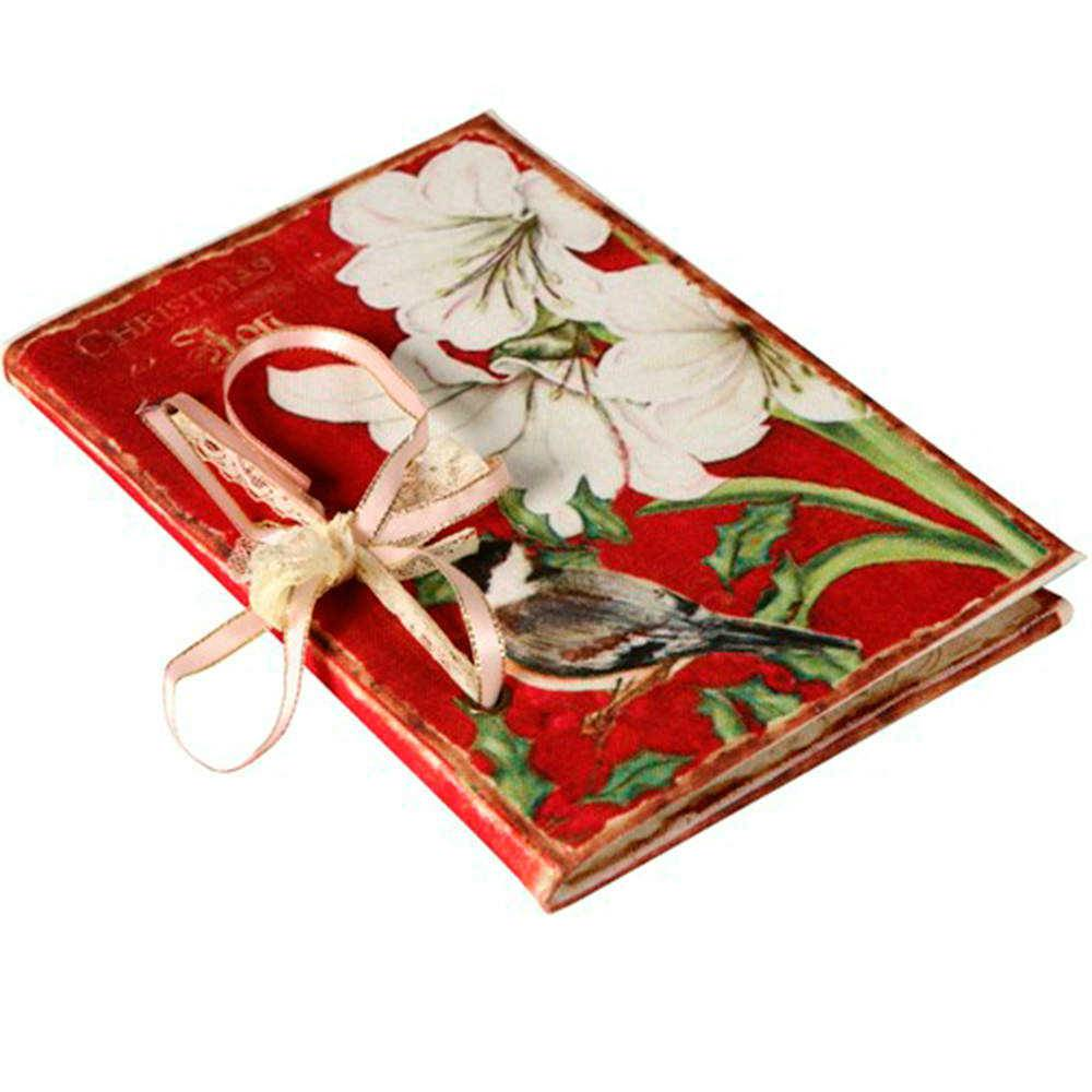 Caderno de Anotações Flores Brancas e Pássaro com Capa em Tecido - 17x12 cm