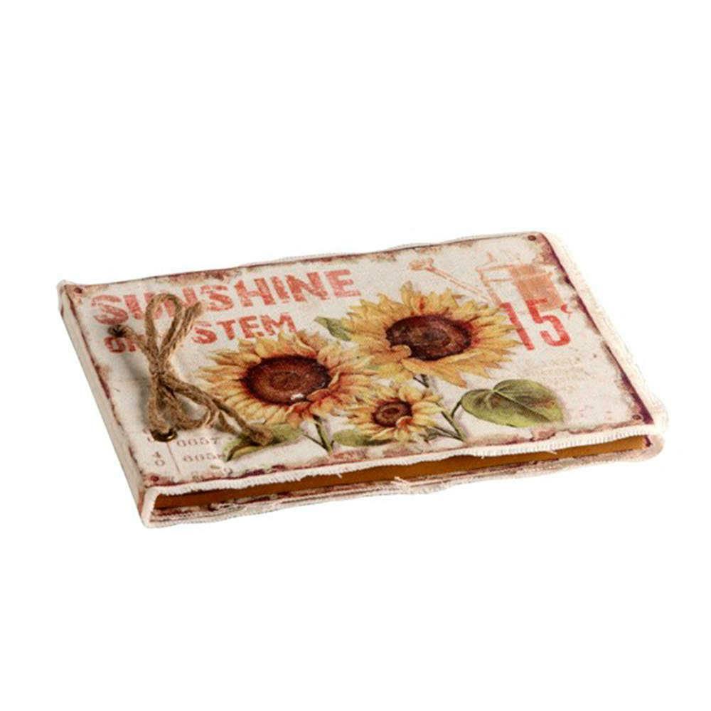 Caderno de Anotações Girassois em Fundo Branco com Capa em Tecido - 22x16 cm