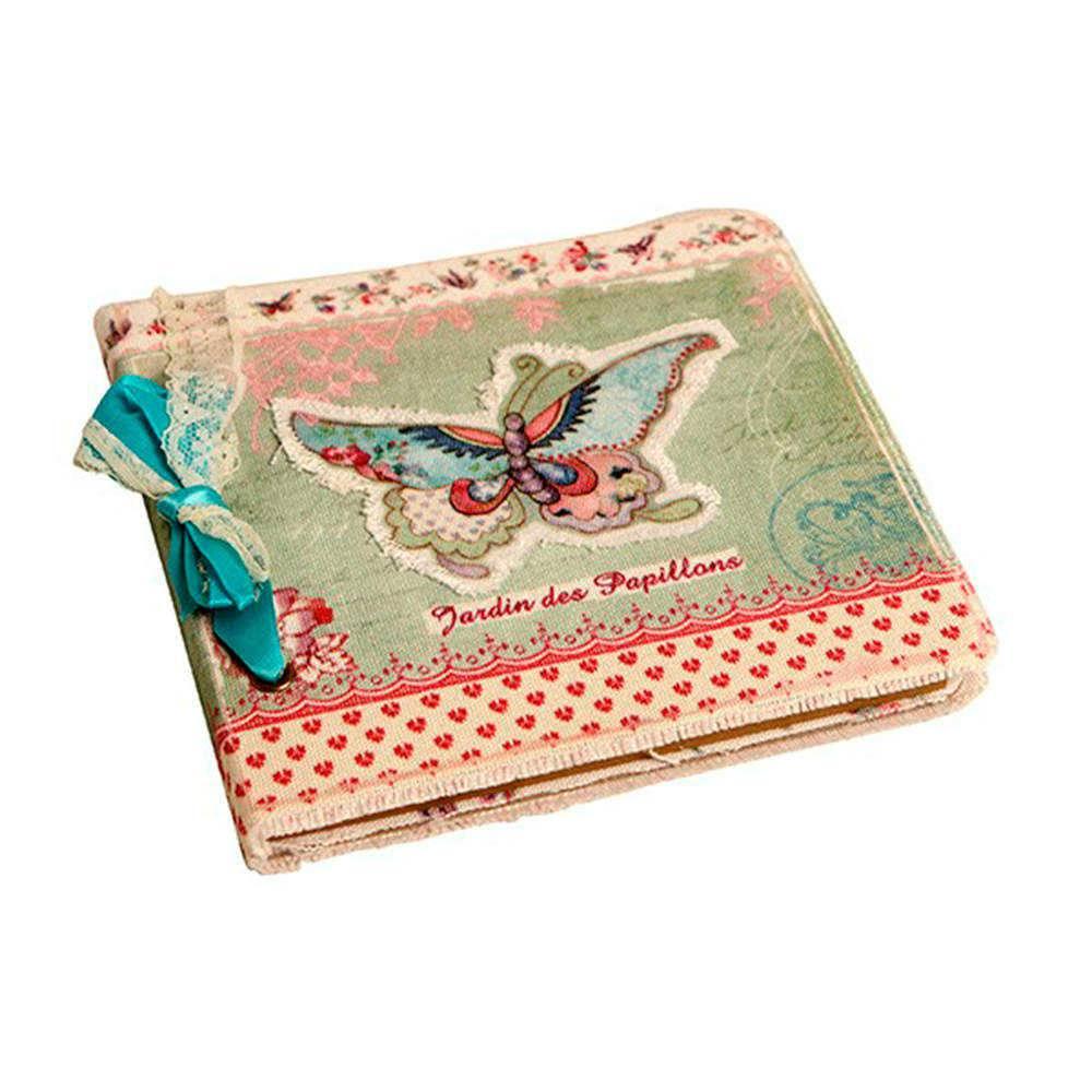 Caderno de Anotações Jardins des Papillons Bege e Verde com Capa em Tecido - 17x17 cm