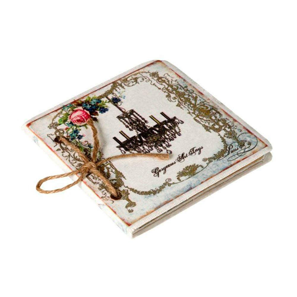 Caderno de Anotações Lustre Preto com Capa em Tecido - 17x17 cm