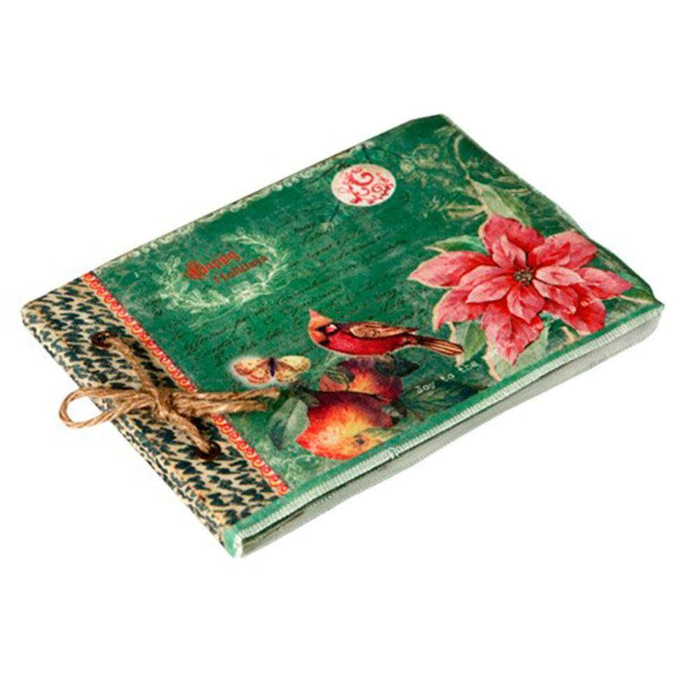 Caderno de Anotações Nature Verde com Capa em Tecido - 22x16 cm