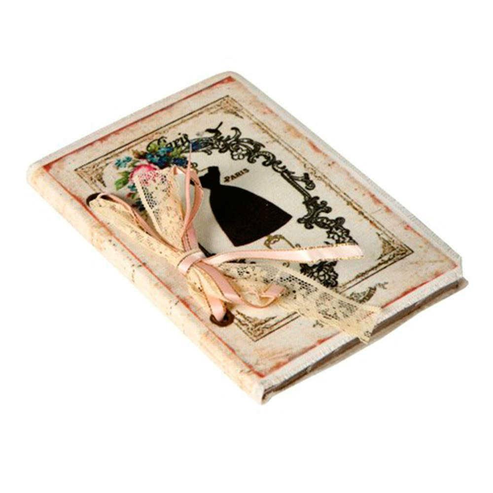 Caderno de Anotações Paris Branco com Capa em Tecido - 17x12 cm