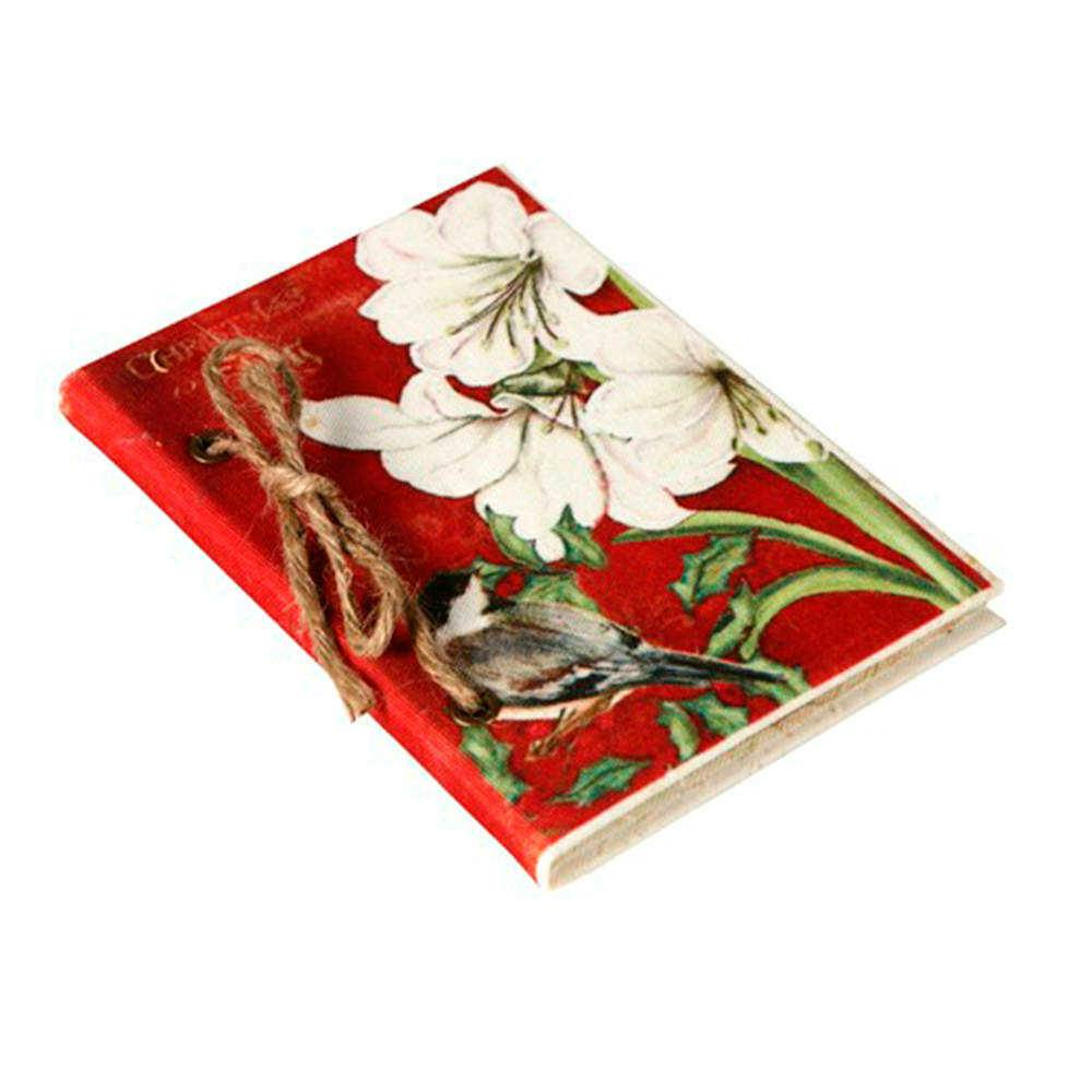 Caderno de Anotações Pássaro com Fundo Vermelho com Capa em Tecido - 17x12 cm