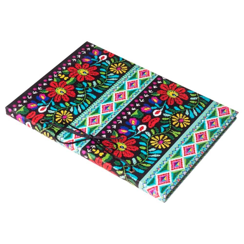 Caderno de Anotações Patchwork Floral Colorido em Tecido/Courino - 30x21 cm