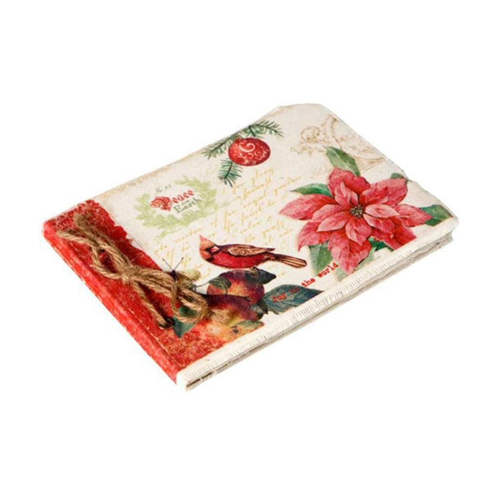 Caderno de Anotações Peace And Earth Branco e Vermelho com Capa em Tecido - 22x16 cm