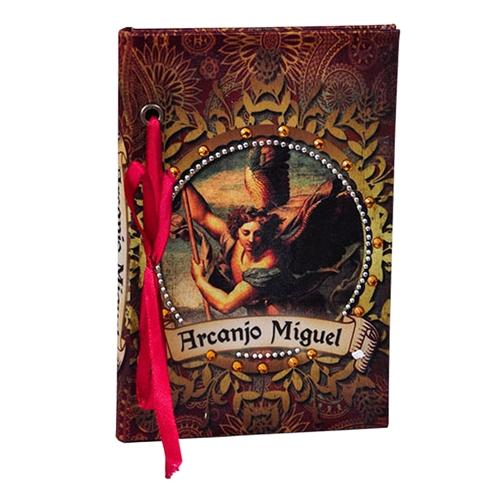 Caderno Arcanjo Miguel em Tecido - 15x10 cm