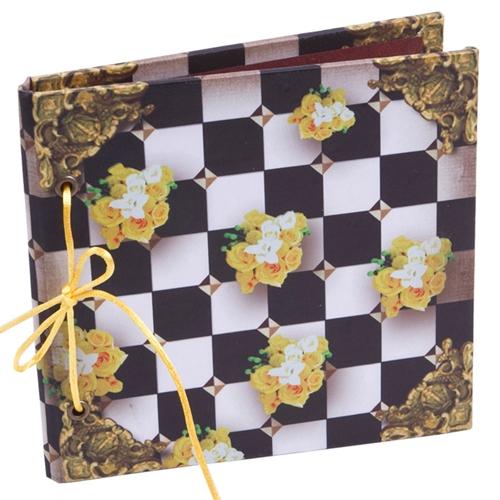 Caderno Black And White Floral em Tecido - 17x17 cm