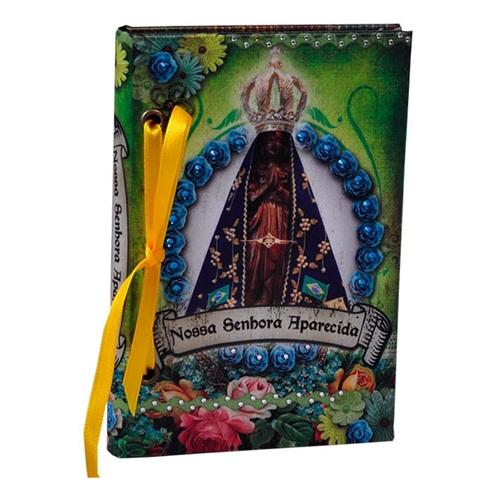 Caderno Nossa Senhora de Aparecida em Tecido - 15x10 cm