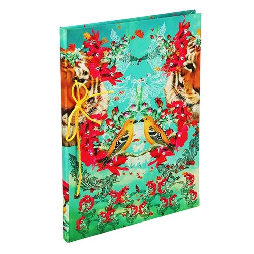 Caderno Tropical Pássaro em Tecido - 31x21 cm