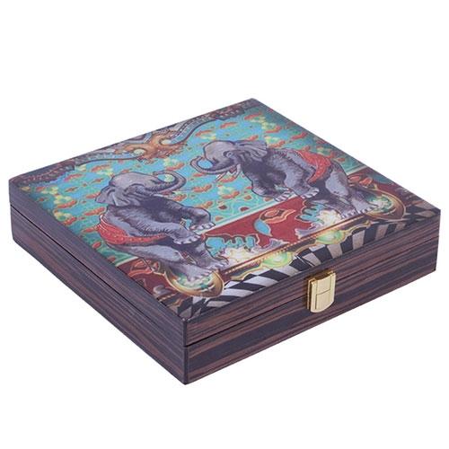 Caixa Abracadabra Elefante em Madeira - 26x25 cm