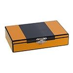Caixa Amarela c/ Baralho e Dados Goldway - 20x12 cm