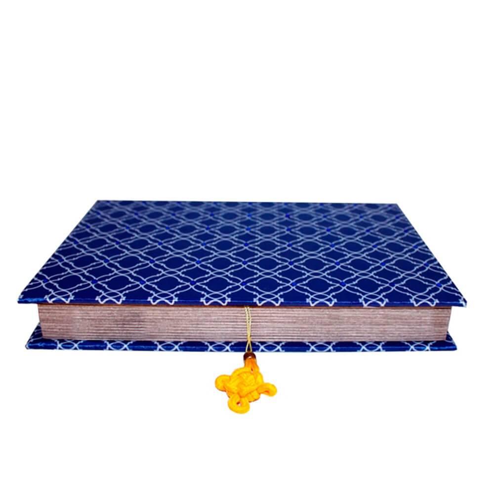 Caixa para Anéis e Bijuterias Azul Royal em Madeira com Revestimento em Tecido - 27x19 cm