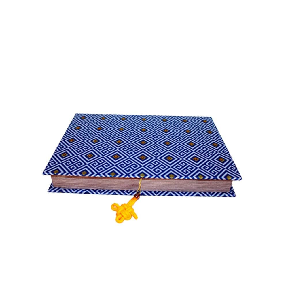 Caixa para Anéis e Bijuterias Royal Azul com Pedrarias em Madeira com Revestimento em Tecido - 27x19 cm