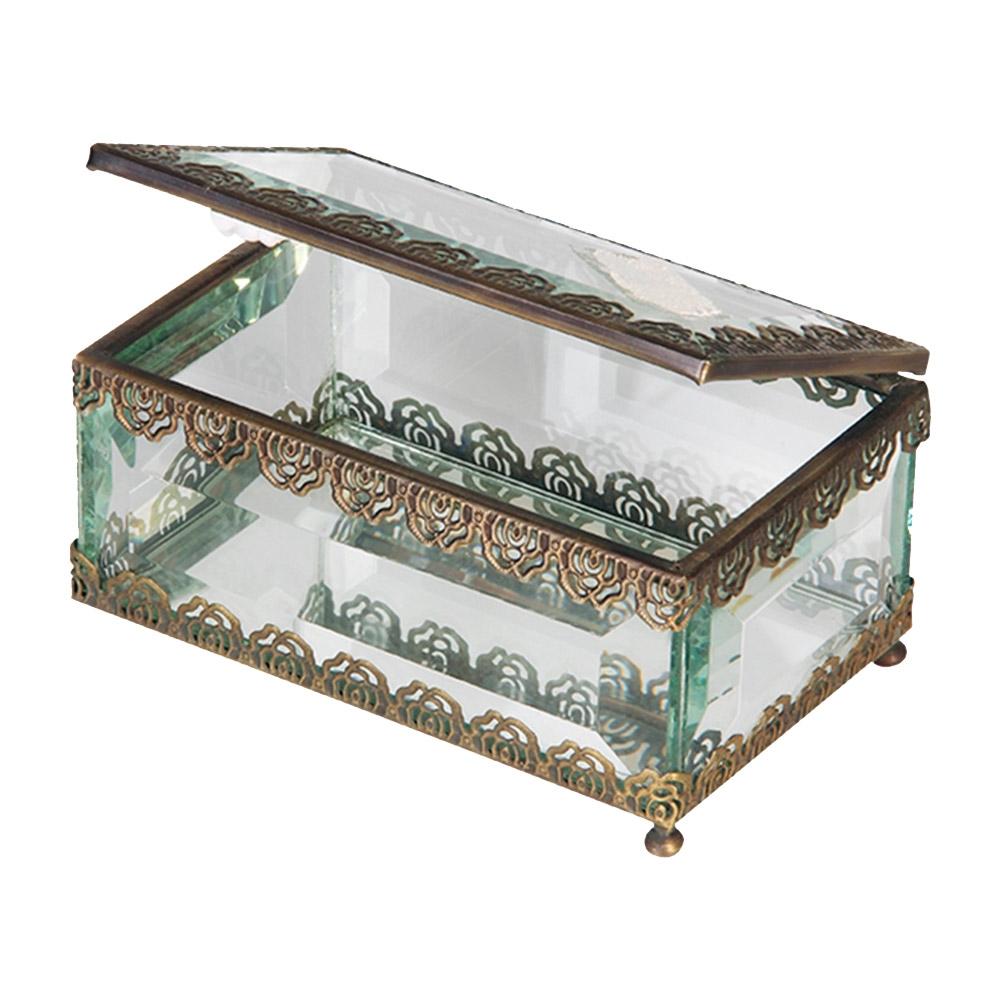 Caixa Antique Flowers Pequena Dourada Transparente em Vidro - 12x8 cm