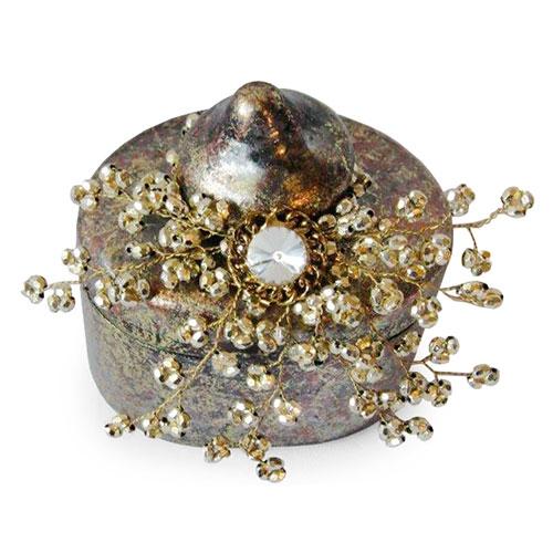 Caixa Bride Dourada em Vidro - 12x10 cm