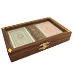 Caixa de Cards e Dados Oldway - Madeira / Bronze / Tampa de Vidro - 18x4 cm